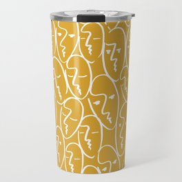 faces / mustard Travel Mug