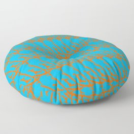 Wicker pattern of squiggles and brown ropes on a light blue background. Floor Pillow