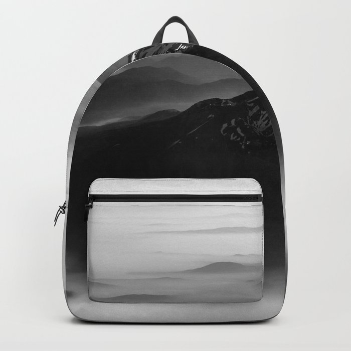 The West is Burning - Mt Shasta Black and White Backpack