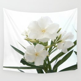 White Oleander Flowers Close Up Isolated On White Background  Wall Tapestry