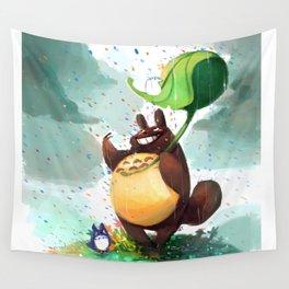 Totoro Rainbow rain Wall Tapestry