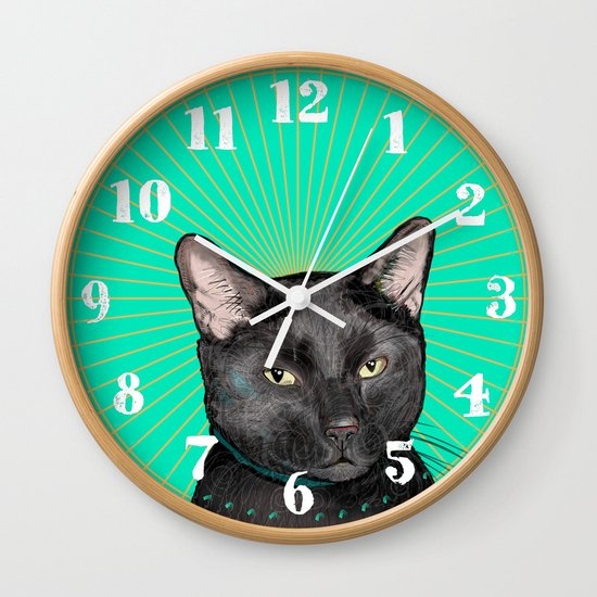 Radiant Sun Cat Wall Clock