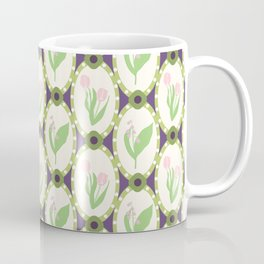 Spring Flowers Tulips and Lily of the Valley Illustrated Pattern Print Coffee Mug