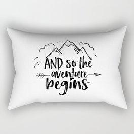 INSPIRATIONAL Quote,And So The Adventure Begins,Adventure Awaits,Kids Room Decor,Nursery Art Rectangular Pillow