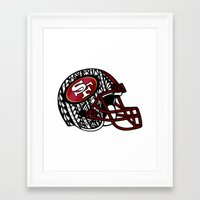 49ers Framed Art Prints featuring Tribal Style 49ers by Lonica Photography & Poly Designs