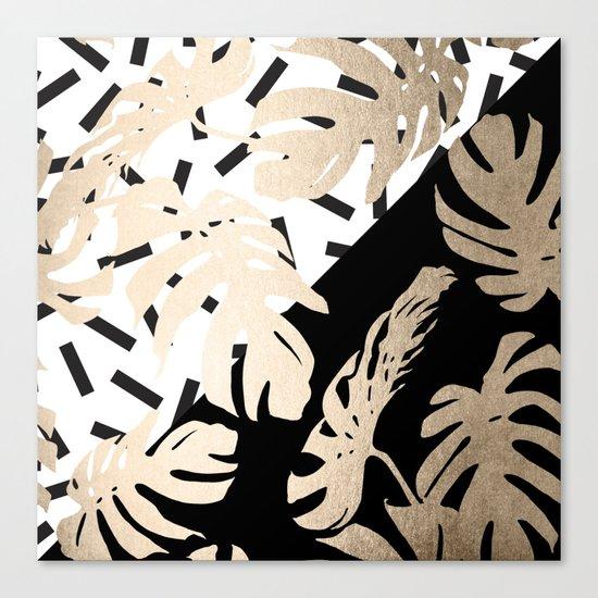 Simply Tropical Midnight Black Memphis Palm Leaves Canvas Print