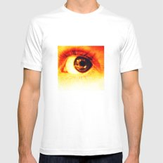 eye MEDIUM White Mens Fitted Tee