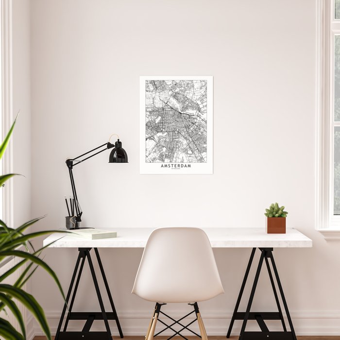Amsterdam White Map Poster