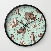otters Wall Clocks featuring Sea Otters by Nemki