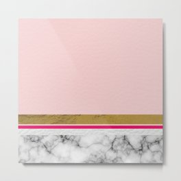 Blush Leather & Marble Metal Print