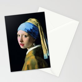 Jan Vermeer Girl With A Pearl Earring Baroque Art Stationery Cards