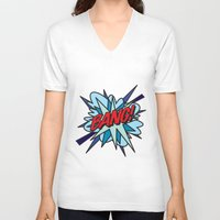 comic book V-neck T-shirts featuring Comic Book BANG! by The Image Zone