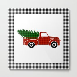 Black and White Buffalo Check Gingham Plaid framed Christmas Truck with Tree Metal Print