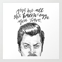 parks and recreation Art Prints featuring Ron Swanson. [Parks and Recreation] by Jillian Kaye