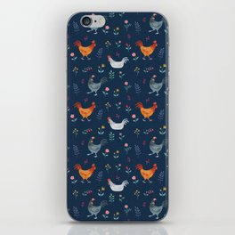 Little Hens (blue) iPhone Skin