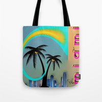 miami Tote Bags featuring Miami by Dunksauce Art