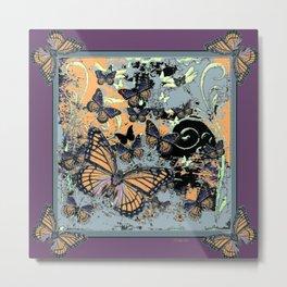 Butterflies Migration in  Puce Purple Grey-black Graphic Art Metal Print