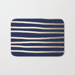 Drawn Stripes White Gold Sands on Nautical Navy Blue Bath Mat
