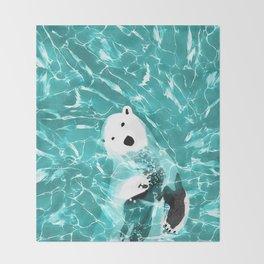 Playful Polar Bear In Turquoise Water Design Decke
