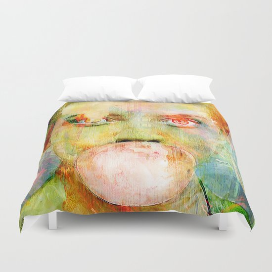 bubble gum  girl Duvet Cover