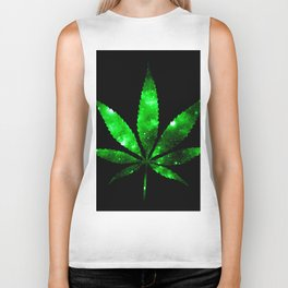 Weed : High Times green Galaxy Biker Tank