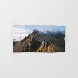 Mountain range in Iceland during Sunset – Landscape Photography Hand & Bath Towel