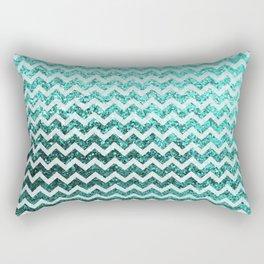 Glitter Sparkly Bling Chevron Pattern (aqua) Rectangular Pillow