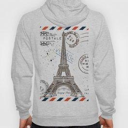 Art hand drawn design with Eifel tower. Old postcard style Hoody