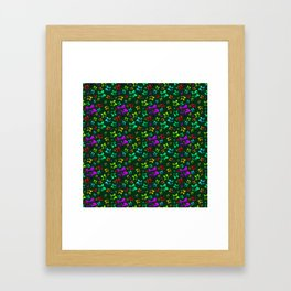 Pattern of cheerful children's shimmering stars on a green background. Framed Art Print