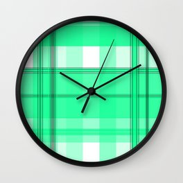 Shades of Light Green and Gray Plaid Wall Clock