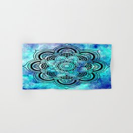 Galaxy Mandala Aqua Indigo Hand & Bath Towel