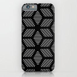 Geometric Line Lines Diamond Shape Tribal Ethnic Pattern Simple Simplistic Minimal Black and White iPhone Case