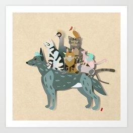Dogs, cats, birds Art Print