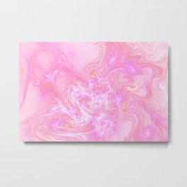 Neon Pink Fantasy Marble Metal Print