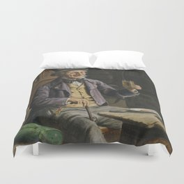Drinking Beer Painting Duvet Cover