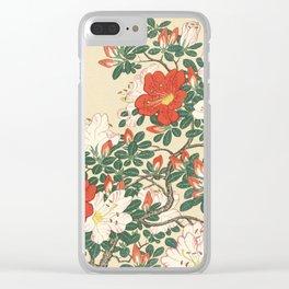 Vintage Azalea Japanese Woodcut Clear iPhone Case