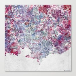 Montevideo Map Canvas Print
