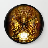 ganesha Wall Clocks featuring Ganesha by Giorgio Finamore