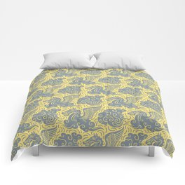 Pegasus Pattern Grey and Yellow Comforters