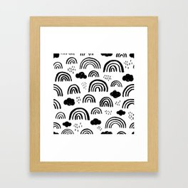 Black and white rainbow clouds Framed Art Print