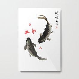 Two Black Koi Metal Print