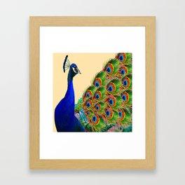 BLUE PEACOCK CREAM COLOR ART Framed Art Print