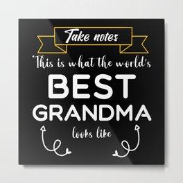 Worlds best Grandma gift GrandMothers day Birthday Metal Print