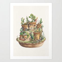 Succulent Village Art Print