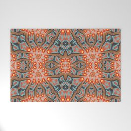 Energy Light | Orange & Teal geometry Welcome Mat