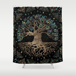 Tree of life -Yggdrasil Golden and Marble ornament Shower Curtain