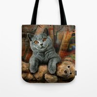 kpop Tote Bags featuring Cat Diesel with teddybear ! by teddynash