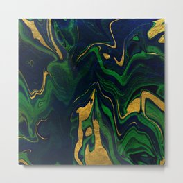 Rhapsody in Blue and Green and Gold Metal Print
