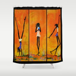 Australia Aboriginal Indigenous Girls Playing Ice Cream Desert Dessert Shower Curtain