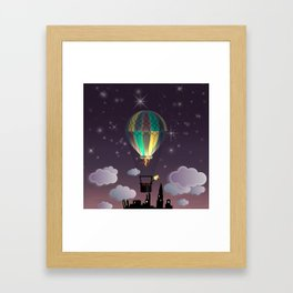 Balloon Aeronautics Night Framed Art Print